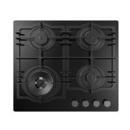Kitchenplus Gas Burners On Black Glass Hob - 4 Burner with full pan support - 600mm